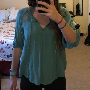 Soft Teal Lacy Peasant Top